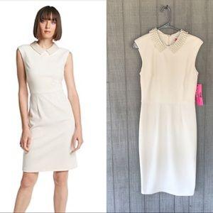 Faux Pearl Collar, Sheath Dress